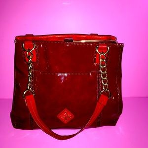 Red Simply Vera Patent Leather Bag Gold Hardware